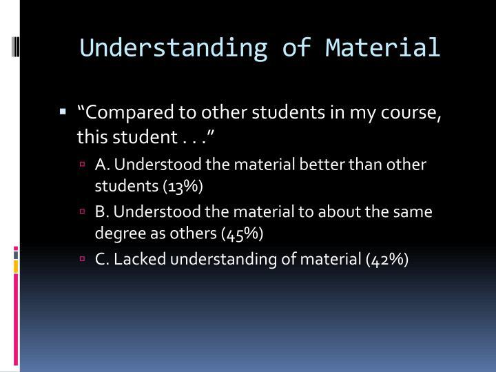 Understanding of Material