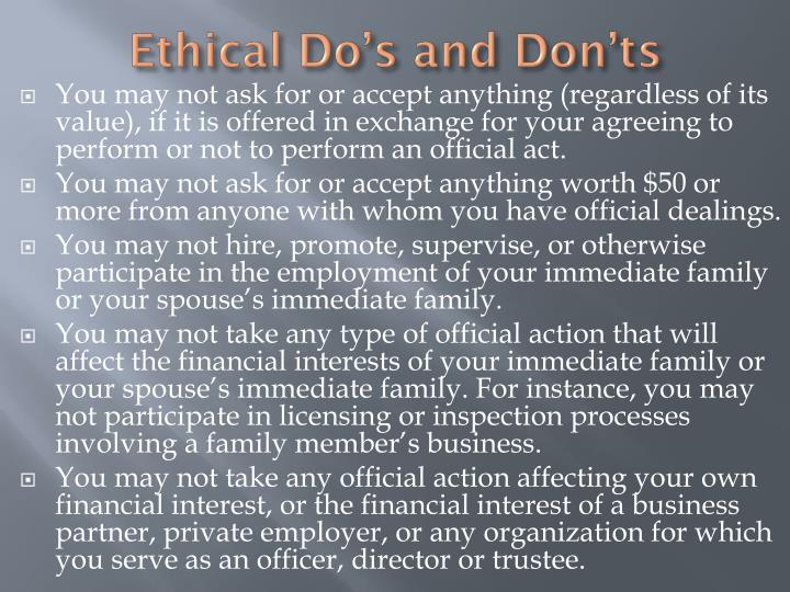 Ethical Do's and Don'ts