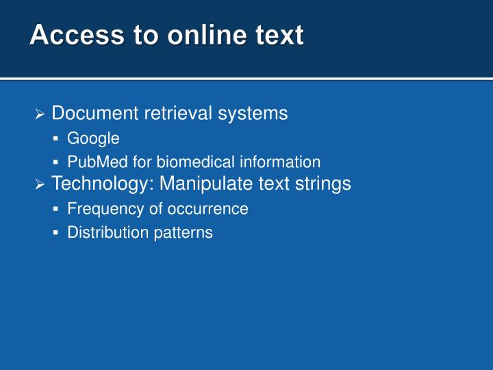 Access to online text
