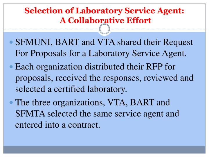 Selection of Laboratory Service Agent: