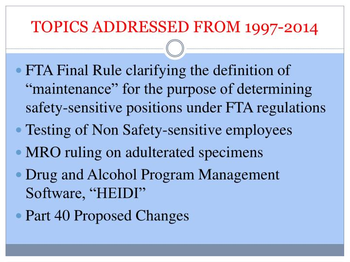 TOPICS ADDRESSED FROM 1997-2014