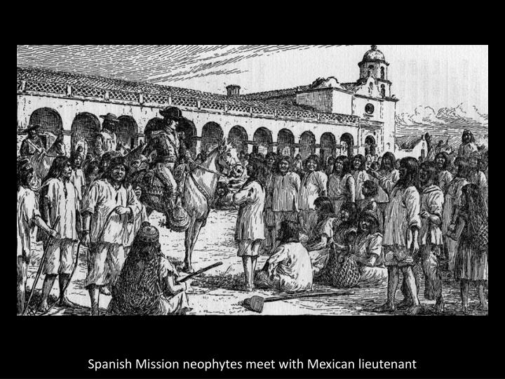 Spanish Mission neophytes meet with Mexican lieutenant