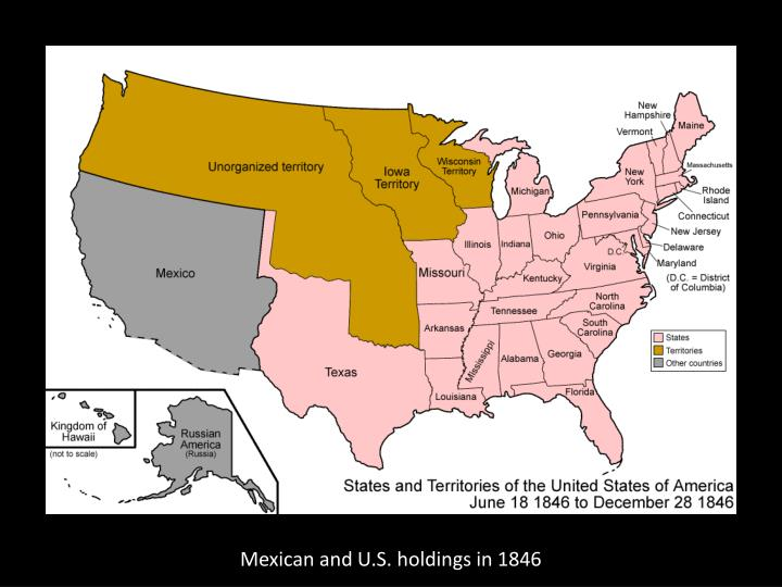 Mexican and U.S. holdings in 1846