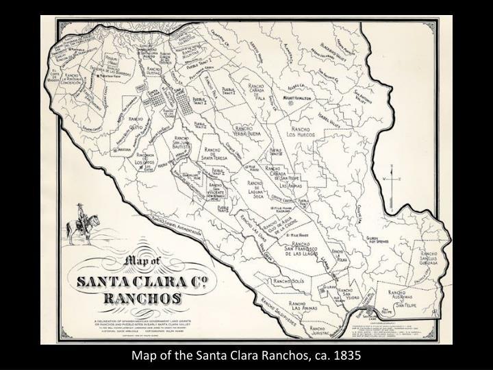 Map of the Santa Clara Ranchos, ca. 1835