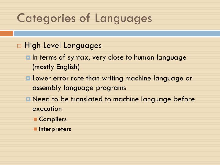 Categories of Languages