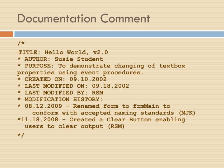 Documentation Comment
