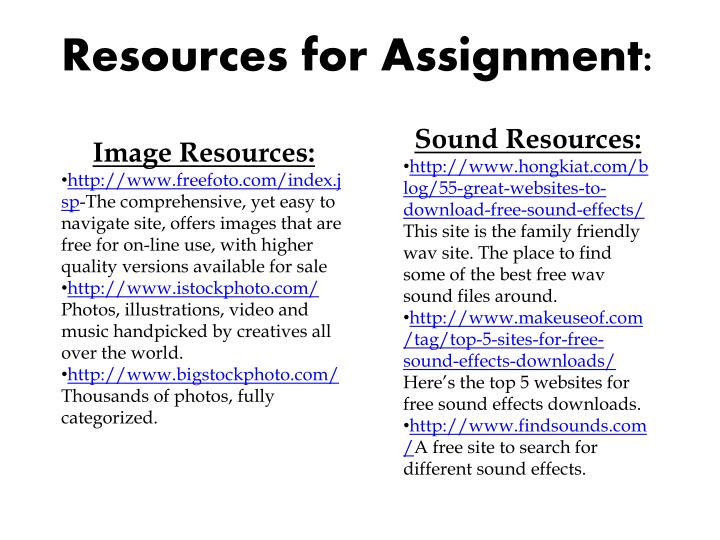 Resources for Assignment:
