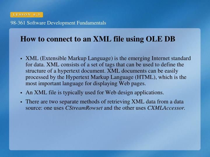 How to connect to an XML file using OLE DB