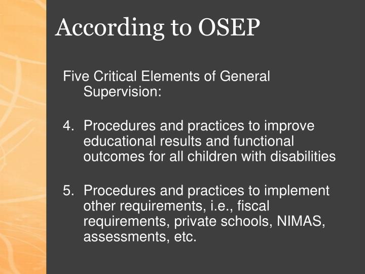 According to OSEP