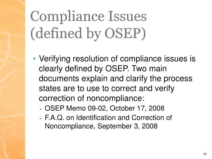 Compliance Issues (defined by OSEP)