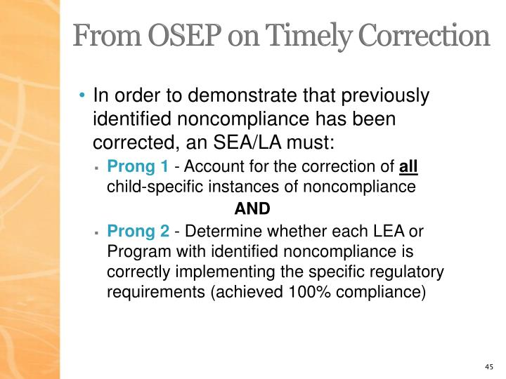From OSEP on Timely Correction