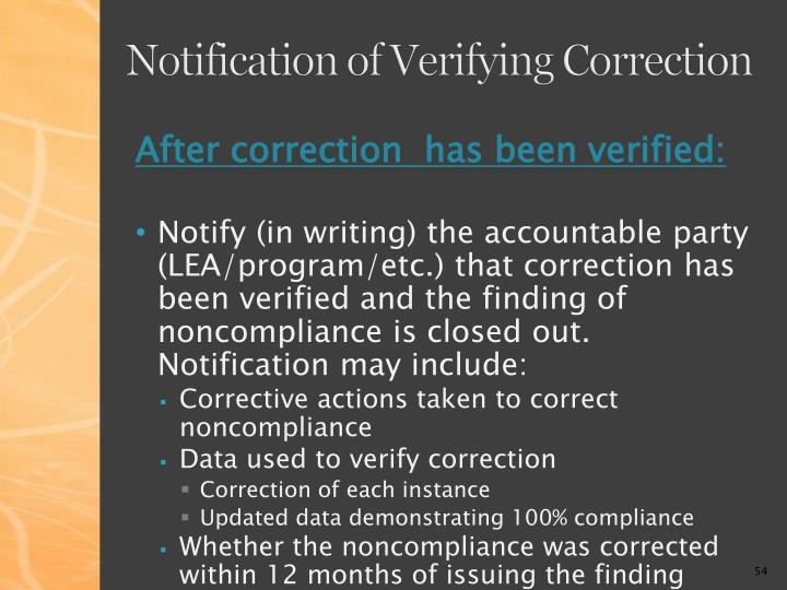 Notification of Verifying Correction