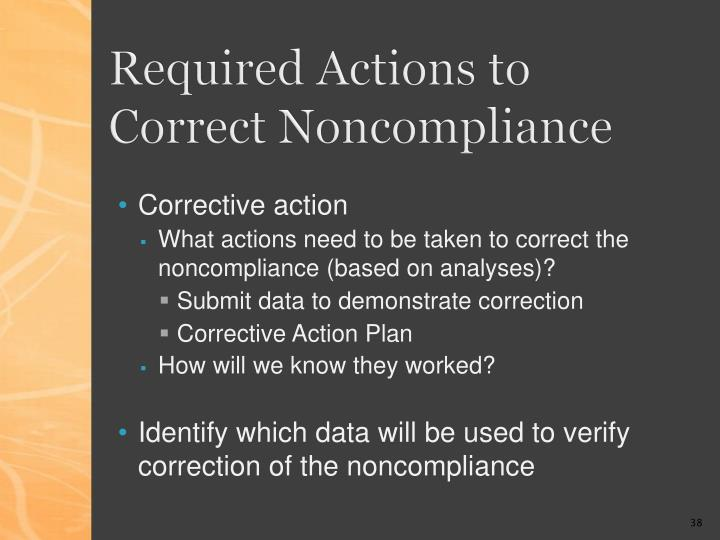 Required Actions to Correct Noncompliance