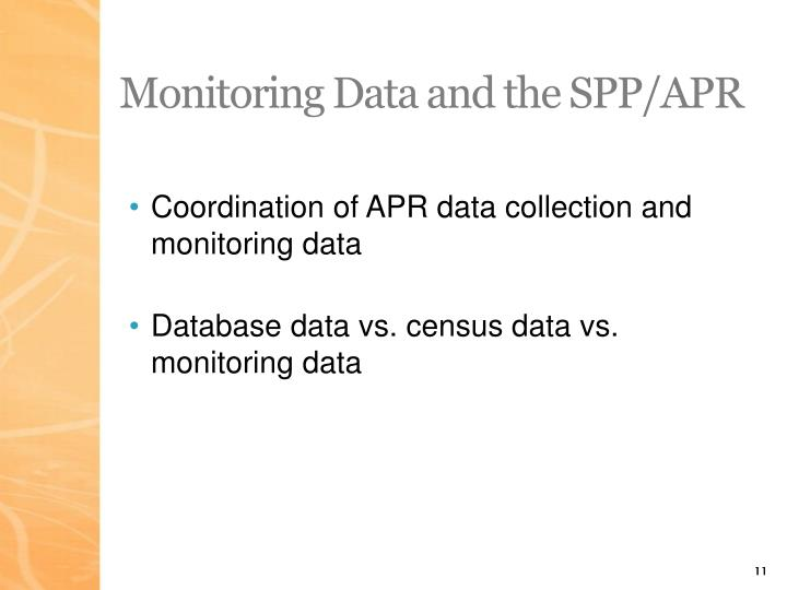 Monitoring Data and the SPP/APR