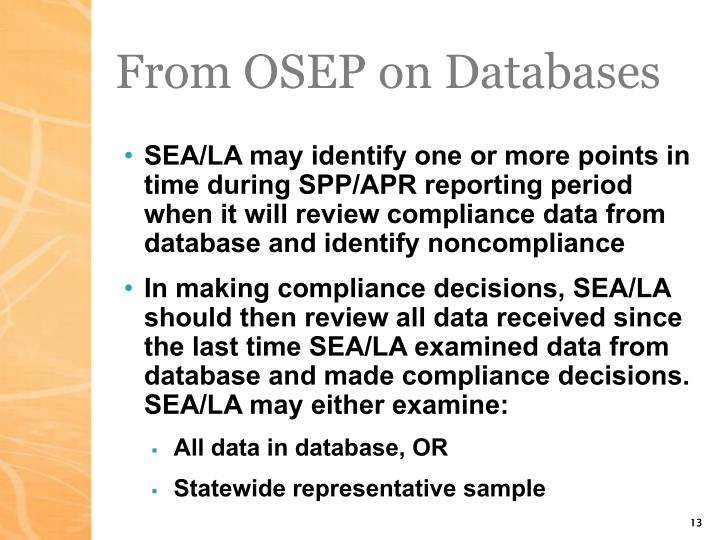 From OSEP on Databases