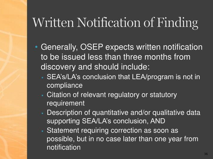 Written Notification of Finding