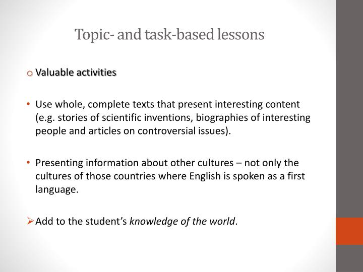 Topic- and task-based lessons
