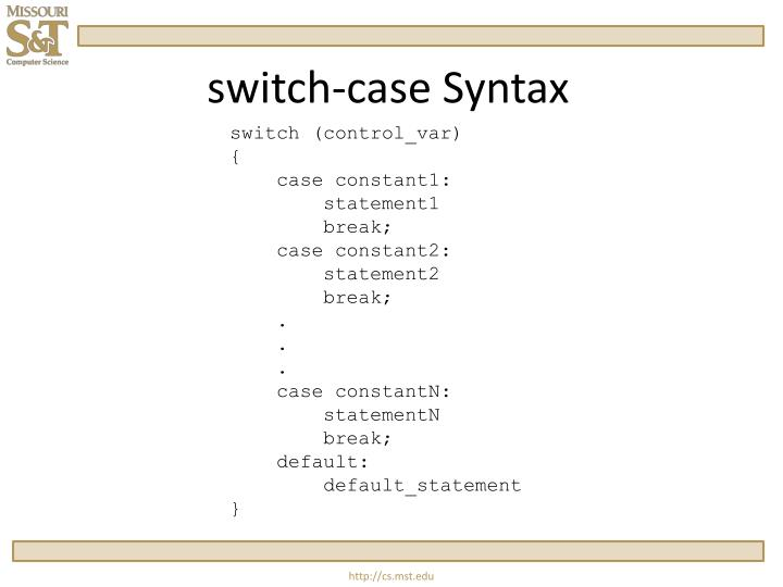 Switch case syntax
