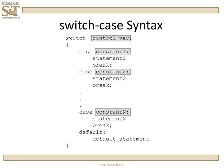 switch-case Syntax