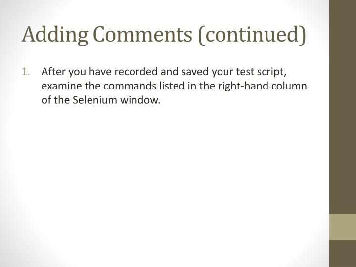 Adding Comments
