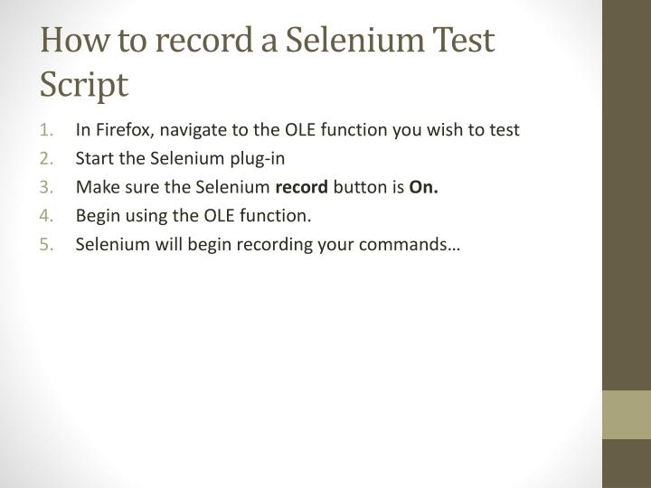 How to record a Selenium Test Script