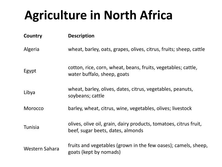 Agriculture in North Africa