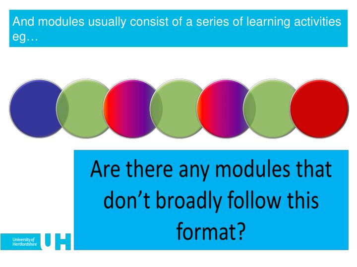 And modules usually consist of a series of learning activities