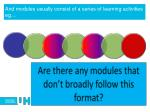 and modules usually consist of a series of learning activities eg