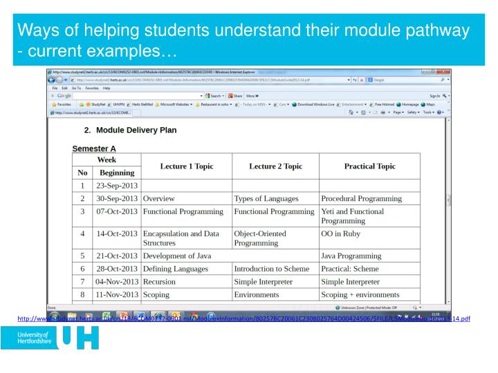 Ways of helping students understand their module pathway - current examples…
