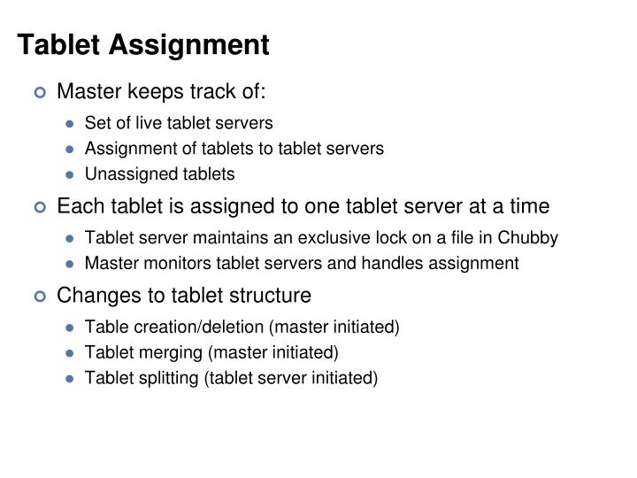 Tablet Assignment