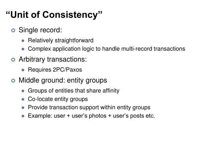 """Unit of Consistency"""