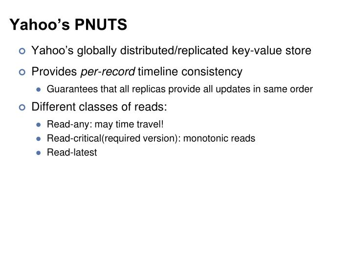 Yahoo's PNUTS