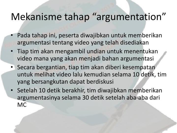 """Mekanisme tahap """"argumentation"""""""