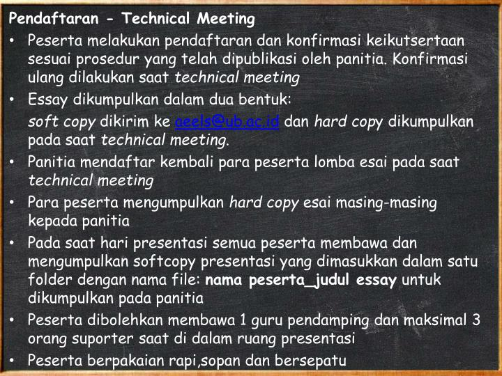 Pendaftaran - Technical Meeting