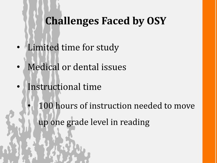 Challenges Faced by OSY