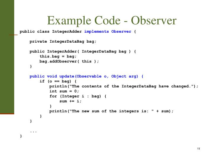Example Code - Observer