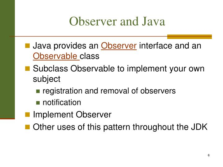 Observer and Java