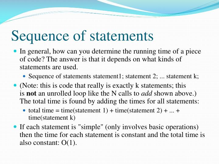 Sequence of statements