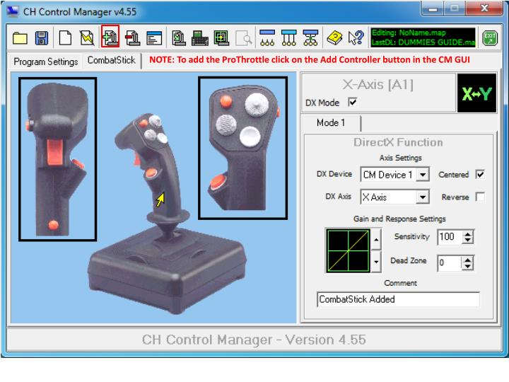 NOTE: To add the ProThrottle click on the Add Controller button in the CM GUI