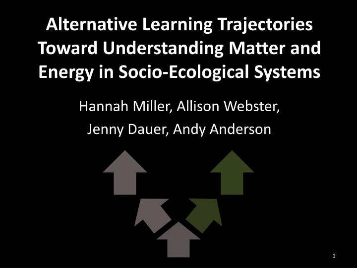 Alternative Learning Trajectories Toward Understanding Matter and Energy in Socio-Ecological Systems