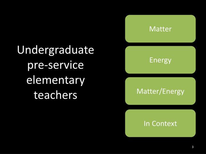 Undergraduate pre-service elementary teachers