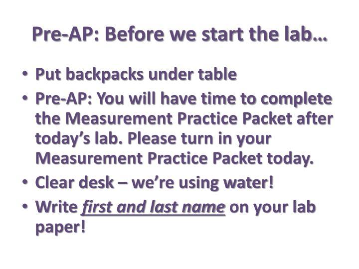 Pre-AP: Before