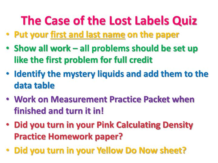The Case of the Lost Labels Quiz