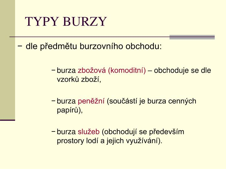 TYPY BURZY