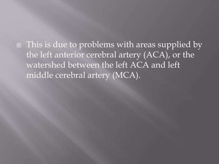 This is due to problems with areas supplied by the left anterior cerebral artery (ACA), or the watershed between the left ACA and left middle cerebral artery (MCA).