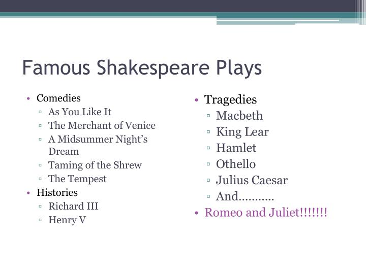 Famous Shakespeare Plays