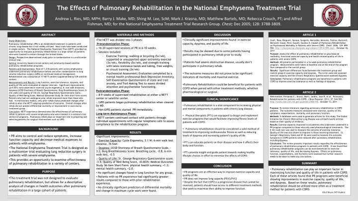 The effects of pulmonary rehabilitation in the national emphysema treatment trial