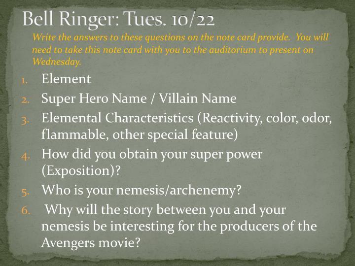 Bell Ringer: Tues. 10/22
