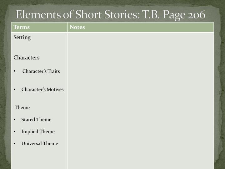 Elements of Short Stories: T.B. Page 206