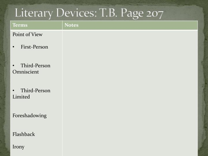 Literary Devices: T.B. Page 207